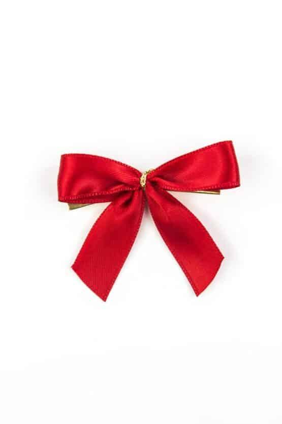 Fertigschleife aus 15 mm Satinband, rot, mit Clip - geschenkverpackung, fertigschleifen