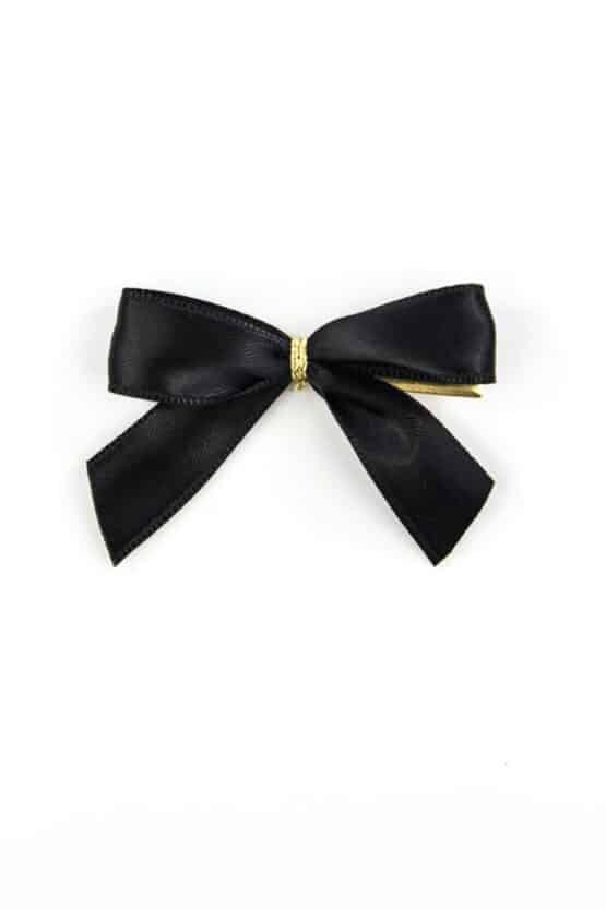 Fertigschleife aus 15 mm Satinband, schwarz, mit Clip - geschenkverpackung, fertigschleifen