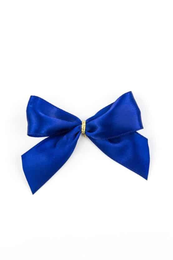 Fertigschleife aus 25 mm Satinband, blau, mit Clip - geschenkverpackung, fertigschleifen