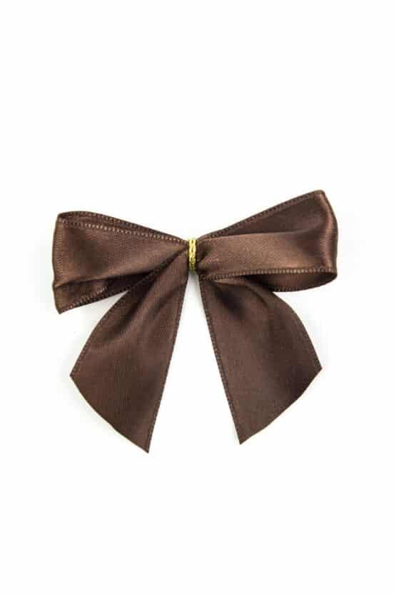 Fertigschleife aus 25 mm Satinband, braun, mit Clip - geschenkverpackung, fertigschleifen