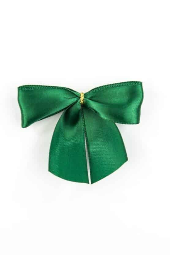 Fertigschleife aus 25 mm Satinband, dunkelgrün, mit Clip - geschenkverpackung, fertigschleifen