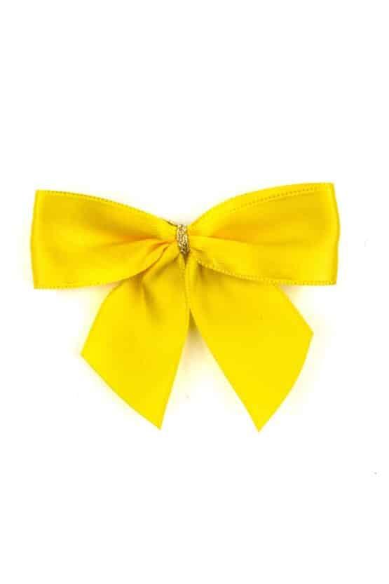 Fertigschleife aus 25 mm Satinband, gelb, mit Clip - geschenkverpackung, fertigschleifen