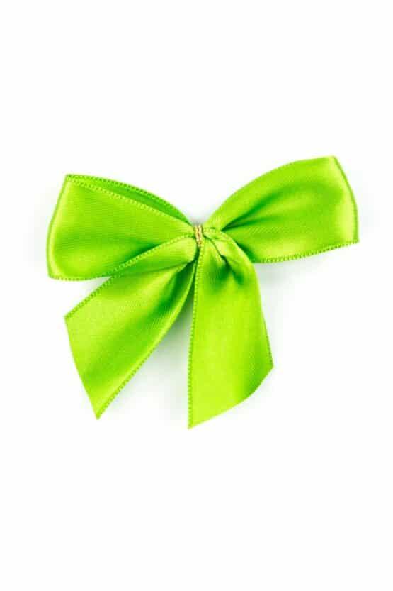 Fertigschleife aus 25 mm Satinband, grün, mit Clip - geschenkverpackung, fertigschleifen