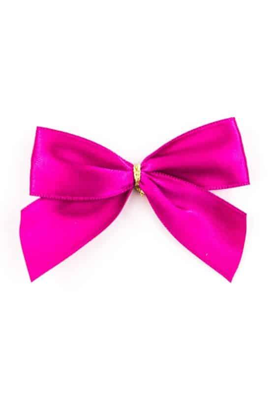 Fertigschleife aus 25 mm Satinband, pink, mit Clip - geschenkverpackung, fertigschleifen