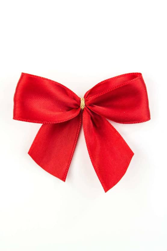 Fertigschleife aus 25 mm Satinband, rot, mit Clip - geschenkverpackung, fertigschleifen