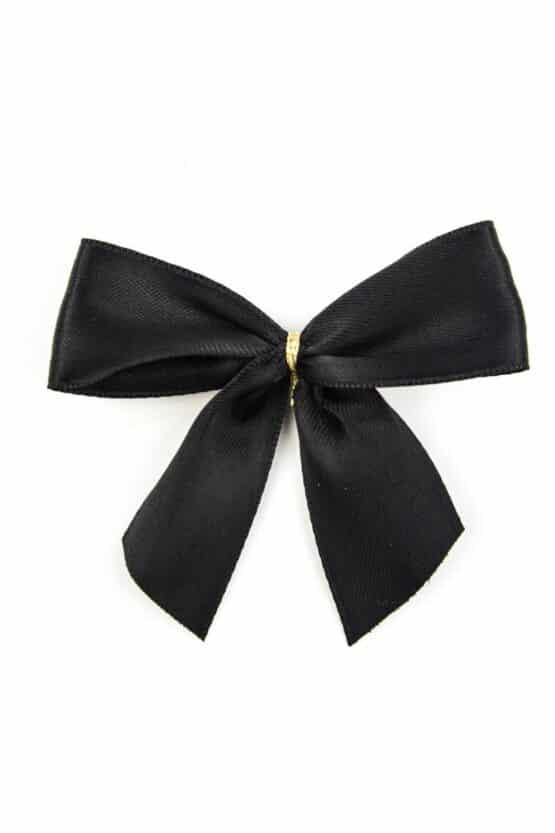 Fertigschleife aus 25 mm Satinband, schwarz, mit Clip - geschenkverpackung, fertigschleifen