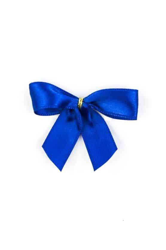 Fertigschleife aus 15 mm Satinband, blau, mit Klebepunkt - geschenkverpackung, fertigschleifen