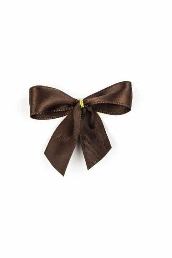 Fertigschleife aus 15 mm Satinband, braun, mit Klebepunkt - geschenkverpackung, fertigschleifen