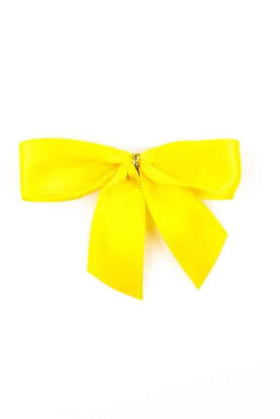Fertigschleife aus 15 mm Satinband, gelb, mit Klebepunkt - geschenkverpackung, fertigschleifen