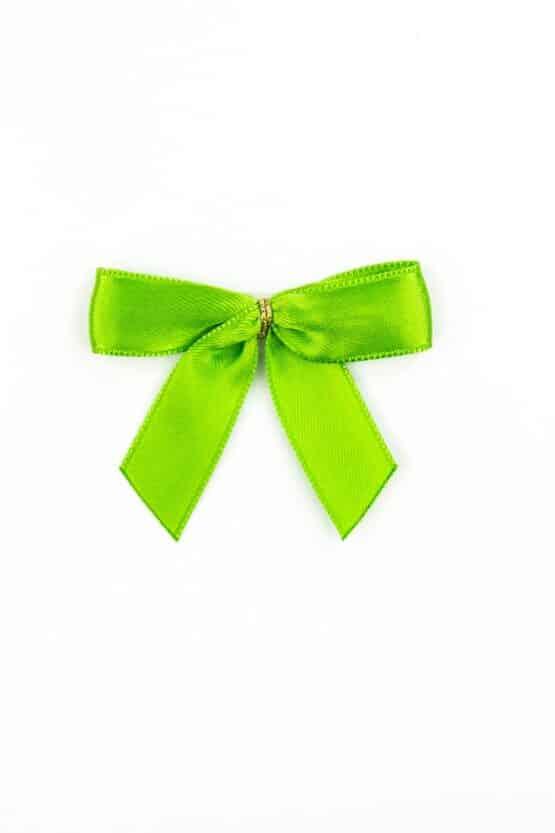 Fertigschleife aus 15 mm Satinband, grün, mit Klebepunkt - geschenkverpackung, fertigschleifen
