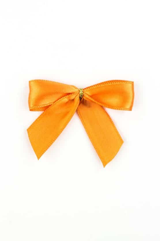 Fertigschleife aus 15 mm Satinband, orange, mit Klebepunkt - geschenkverpackung, fertigschleifen
