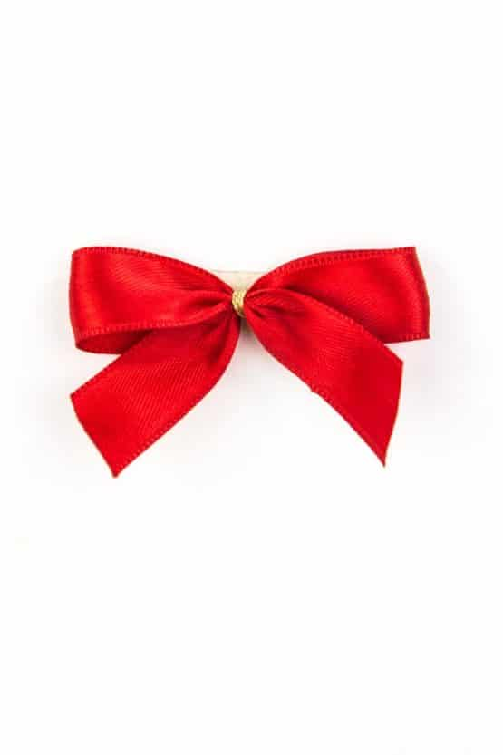 Fertigschleife aus 15 mm Satinband, rot, mit Klebepunkt - geschenkverpackung, fertigschleifen