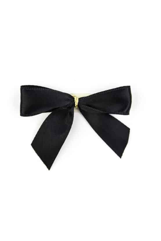 Fertigschleife aus 15 mm Satinband, schwarz, mit Klebepunkt - geschenkverpackung, fertigschleifen