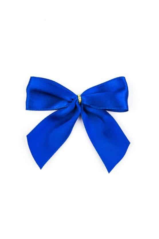 Fertigschleife aus 25 mm Satinband, blau, mit Klebepunkt - geschenkverpackung, fertigschleifen