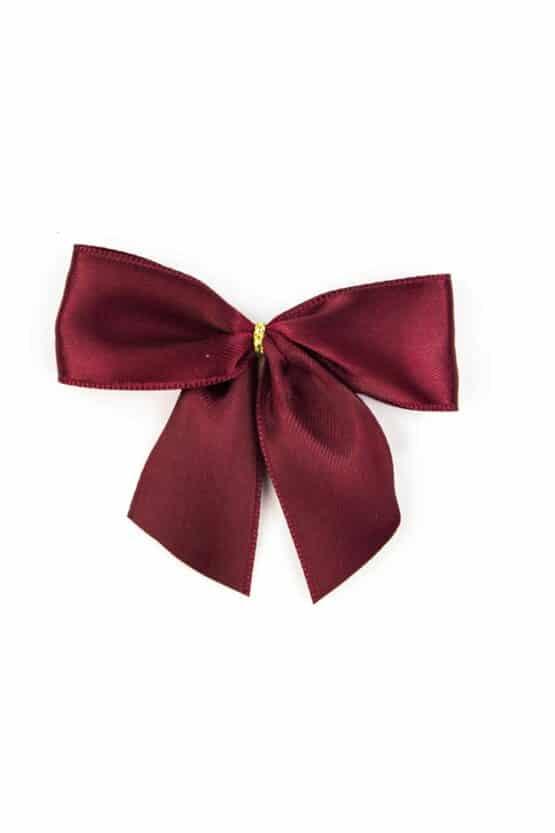 Fertigschleife aus 25 mm Satinband, bordeaux, mit Klebepunkt - geschenkverpackung, fertigschleifen