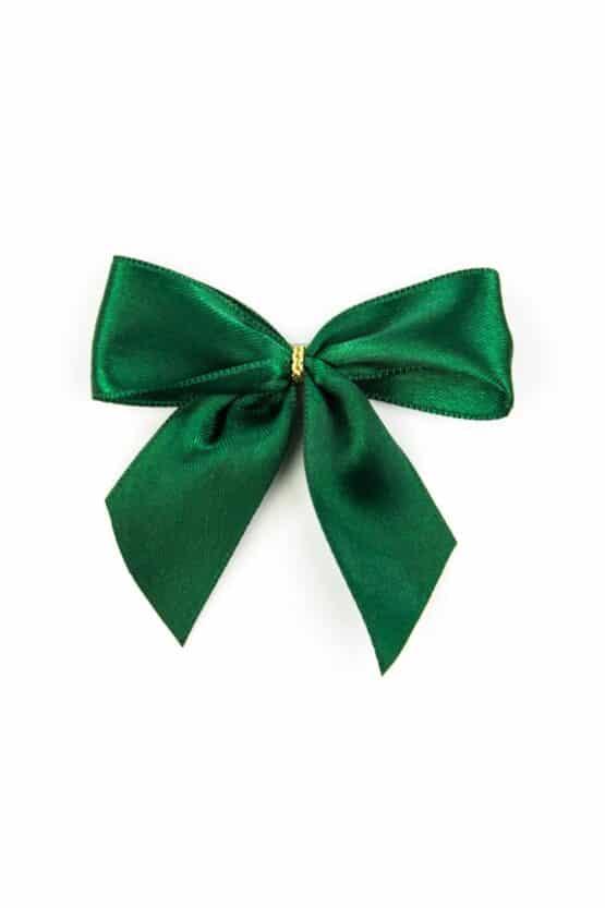 Fertigschleife aus 25 mm Satinband, dunkelgrün, mit Klebepunkt - geschenkverpackung, fertigschleifen