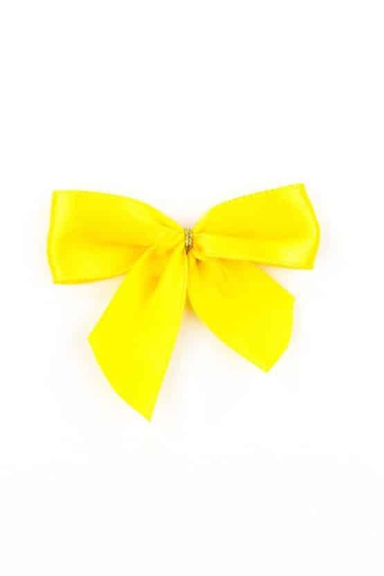 Fertigschleife aus 25 mm Satinband, gelb, mit Klebepunkt - geschenkverpackung, fertigschleifen