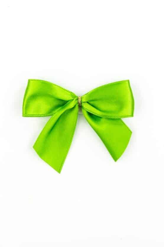 Fertigschleife aus 25 mm Satinband, grün, mit Klebepunkt - geschenkverpackung, fertigschleifen