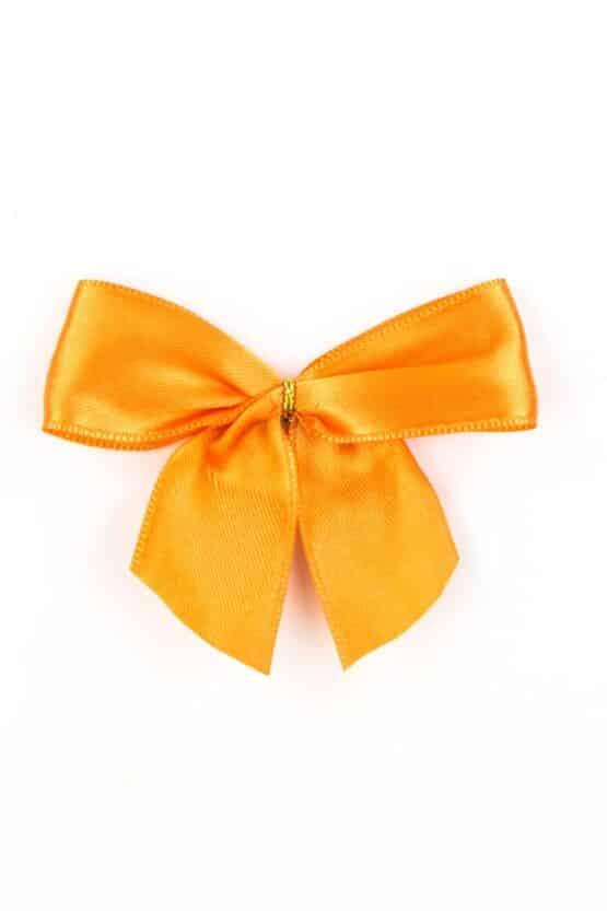 Fertigschleife aus 25 mm Satinband, orange, mit Klebepunkt - geschenkverpackung, fertigschleifen