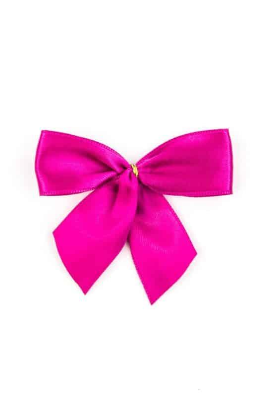 Fertigschleife aus 25 mm Satinband, pink, mit Klebepunkt - geschenkverpackung, fertigschleifen