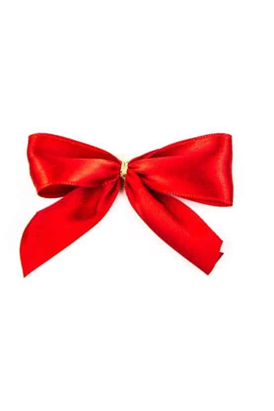 Fertigschleife aus 25 mm Satinband, rot, mit Klebepunkt - geschenkverpackung, fertigschleifen