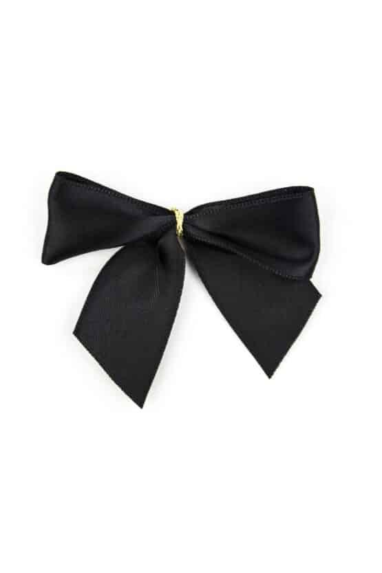 Fertigschleife aus 25 mm Satinband, schwarz, mit Klebepunkt - geschenkverpackung, fertigschleifen