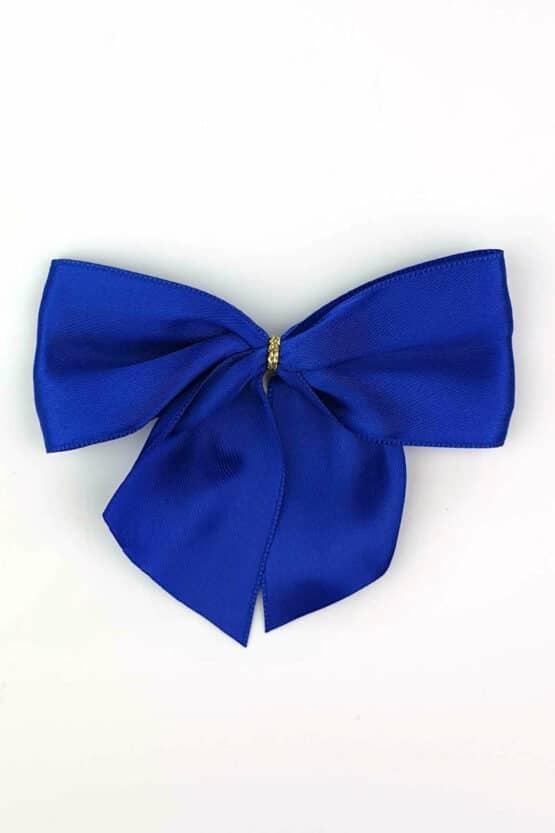 Fertigschleife aus 40 mm Satinband, blau, mit Clip - geschenkverpackung, fertigschleifen