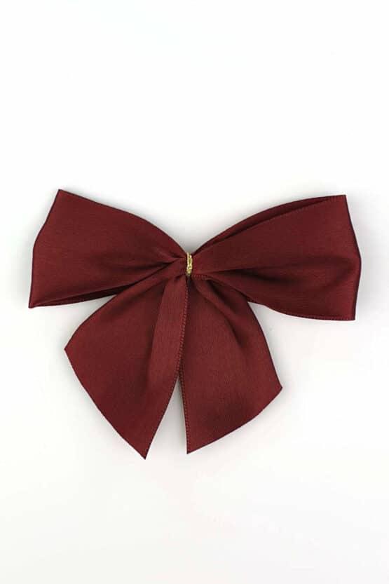 Fertigschleife aus 40 mm Satinband, bordeaux, mit Klebepunkt - geschenkverpackung, fertigschleifen