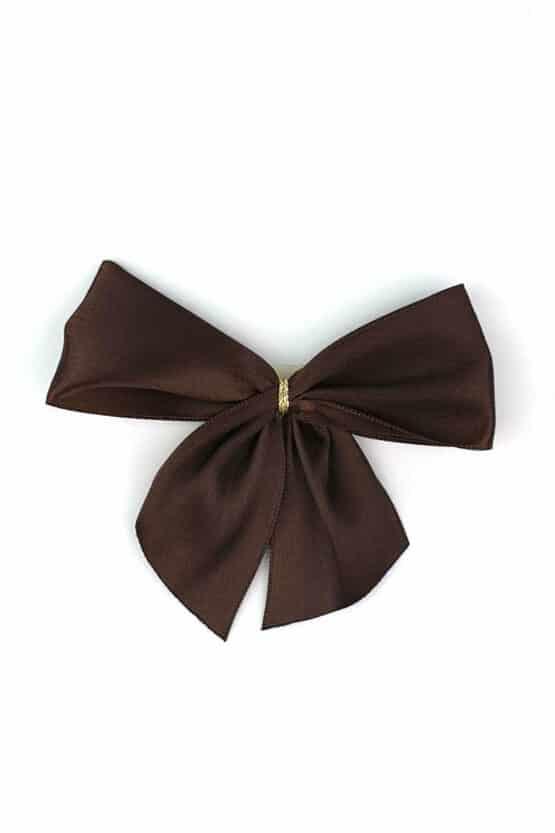 Fertigschleife aus 40 mm Satinband, braun, mit Klebepunkt - geschenkverpackung, fertigschleifen