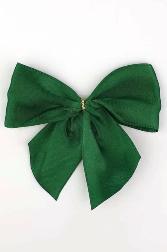Fertigschleife aus 40 mm Satinband, dunkelgrün, mit Clip - geschenkverpackung, fertigschleifen