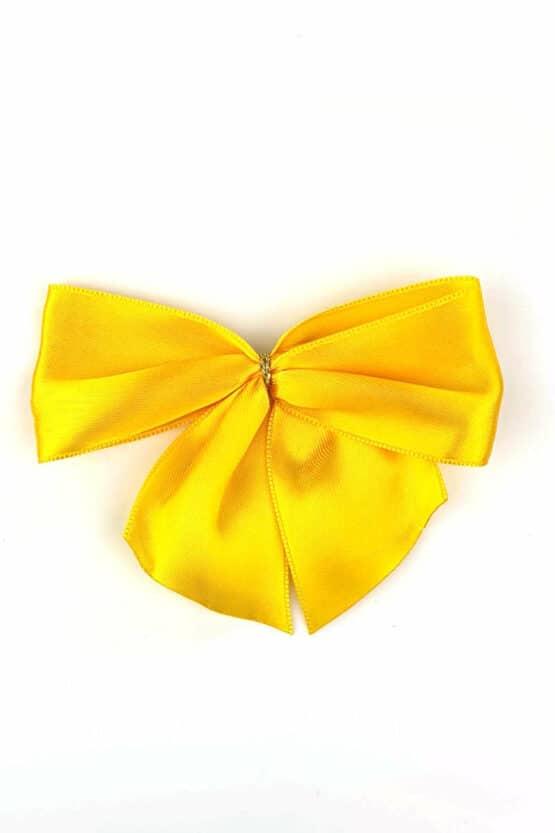 Fertigschleife aus 40 mm Satinband, gelb, mit Clip - geschenkverpackung, fertigschleifen