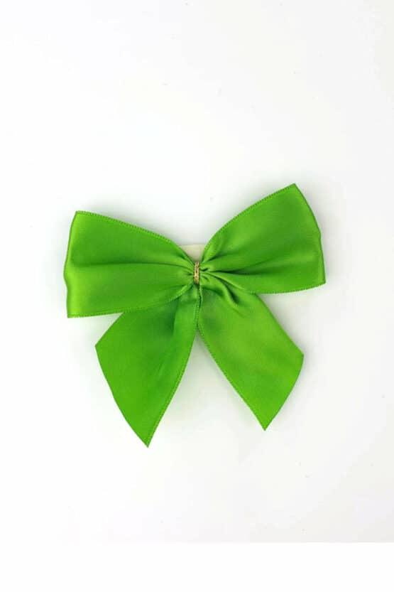 Fertigschleife aus 40 mm Satinband, grün, mit Clip - geschenkverpackung, fertigschleifen
