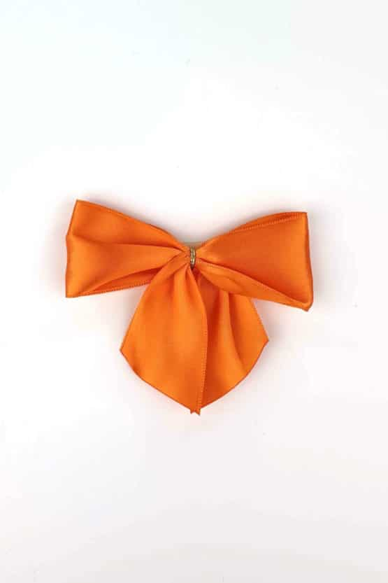 Fertigschleife aus 40 mm Satinband, orange, mit Clip - geschenkverpackung, fertigschleifen