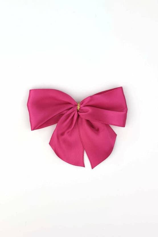 Fertigschleife aus 40 mm Satinband, pink, mit Klebepunkt - geschenkverpackung, fertigschleifen