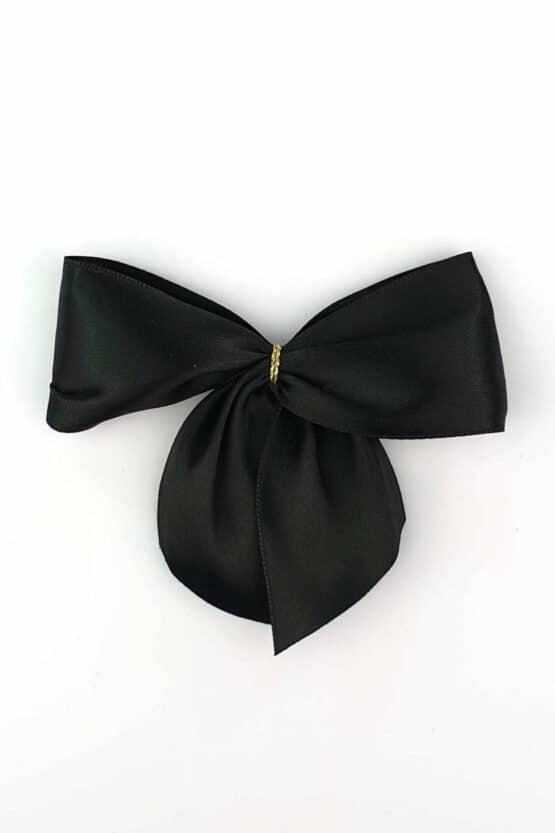 Fertigschleife aus 40 mm Satinband, schwarz, mit Klebepunkt - geschenkverpackung, fertigschleifen
