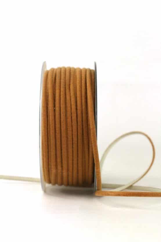 Zweifarbige Filzschnur, braun-creme, 5 mm breit - geschenkband-einfarbig, dekoband