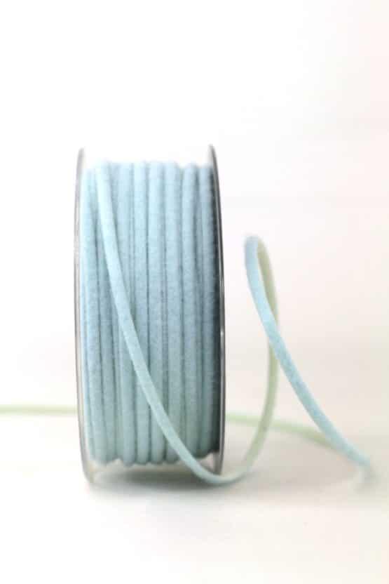 Zweifarbige Filzschnur, hellblau-creme, 5 mm breit - geschenkband-einfarbig, dekoband