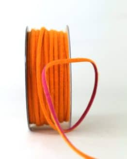 Zweifarbige Filzschnur, orange-pink, 5 mm breit - geschenkband-einfarbig, dekoband