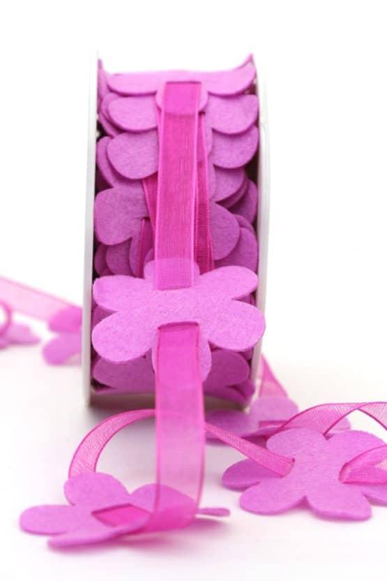 Filzblütengirlande mit Organza, pink - dekogirlande