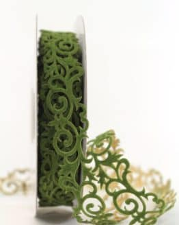 Filzgirlande Ornament, tannengrün-gold, 25 mm - weihnachtsbaender, geschenkband-weihnachten-gemustert, geschenkband-weihnachten