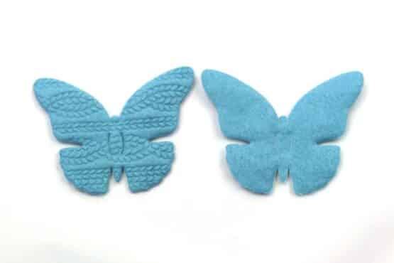 Filz-Schmetterling, türkis, 65 mm, 20 Stück - geschenkanhaenger, accessoires