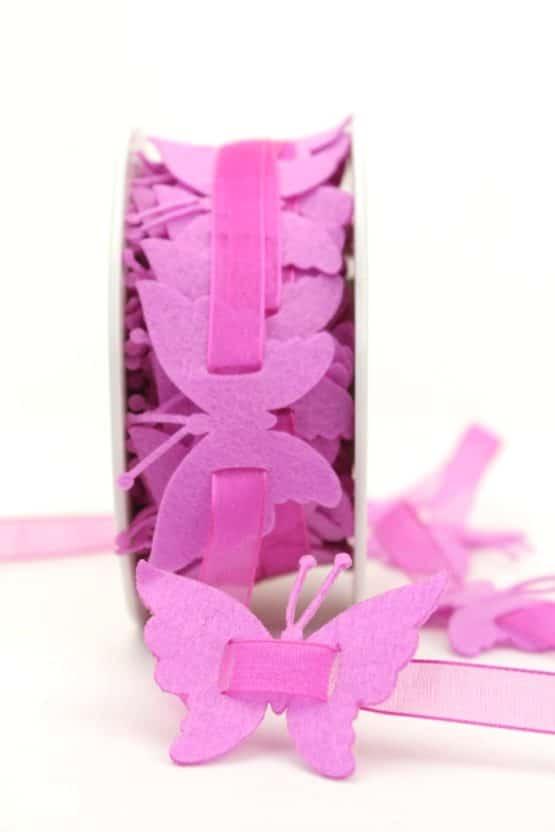 Schmetterlinggirlande aus Filz, pink - dekogirlande