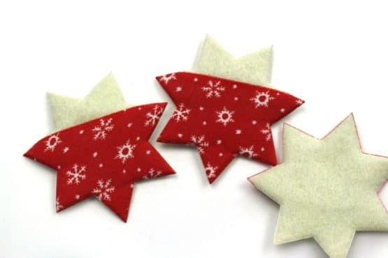 Filzstern aus Stoff u. Filz, rot-creme, 52 mm, 20 Stück - accessoires