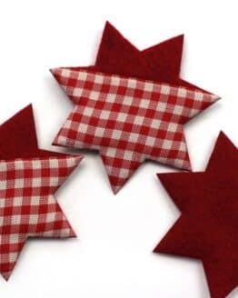 Filzstern aus Stoff u. Filz, rot-kariert, 60 mm, 24 Stück - accessoires