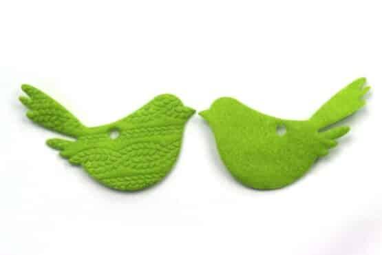 Filz-Dekovogel, grün, 70 mm, 20 Stück - geschenkanhaenger, accessoires