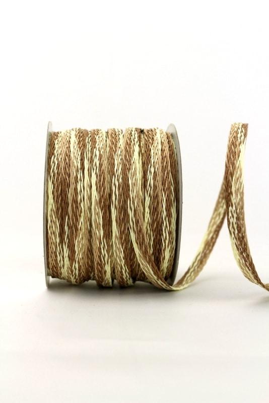 Flechtband creme-braun, 10 mm - 40 mm - geschenkband, geschenkband-gemustert, dekoband
