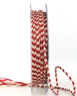 Flechtkordel rot-weiß, 3 mm stark - valentinstag, muttertag, kordeln, geschenkband, geschenkband-fuer-anlaesse, anlasse