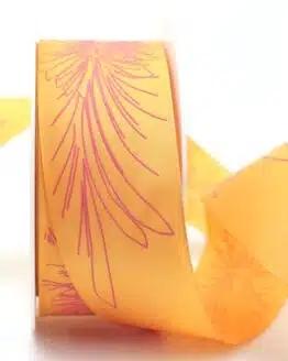 Florales Geschenkband, orange, 40 mm breit - sonderangebot, geschenkband-gemustert, dekoband-mit-drahtkante, 20-rabatt