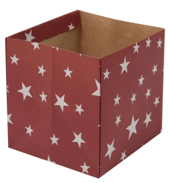 Flowerpot Stars, bordeaux-rot, 140x140x135 mm - geschenkverpackung, geschenkboxen