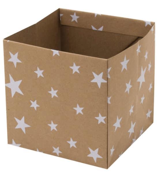 Flowerpot Stars, braun, 105x105x105 mm - geschenkverpackung, geschenkboxen